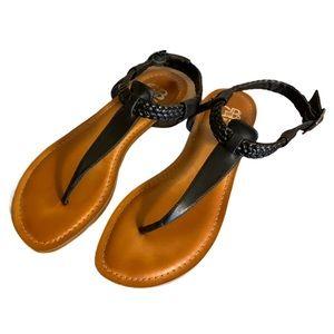 Gianni Bini Black Leather Sandals - Women's Size 8